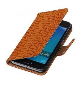 iHoez.nl Snake Samsung Galaxy J1 mini boekhoesje Bruin