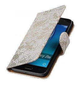 iHoez.nl Lace Samsung Galaxy J1 mini boekhoesje Wit