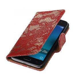 iHoez.nl Lace Samsung Galaxy J1 mini boekhoesje Rood