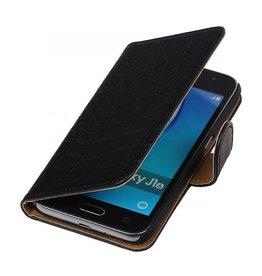iHoez.nl Croco Samsung Galaxy J1 mini boekhoesje Zwart