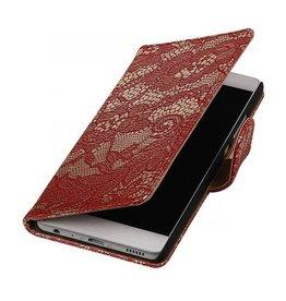 iHoez.nl Lace boekhoesje Huawei P9 Rood