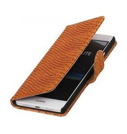 iHoez.nl Snake Boekhoesje Huawei P9 Lite Bruin