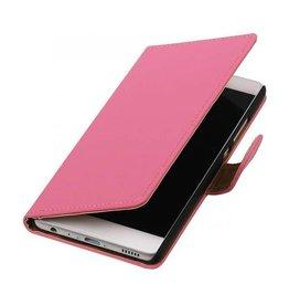 iHoez.nl Effen boekhoesje Huawei P9 Roze
