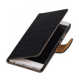 iHoez.nl Croco boekhoesje Huawei P9 Zwart