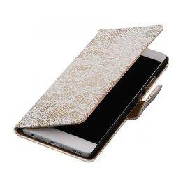 iHoez.nl Lace boekhoesje Huawei P9 Wit