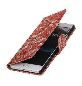 iHoez.nl Lace boekhoesje Huawei P9 Lite Rood
