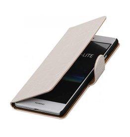 iHoez.nl Croco boekhoesje Huawei P9 Lite Wit
