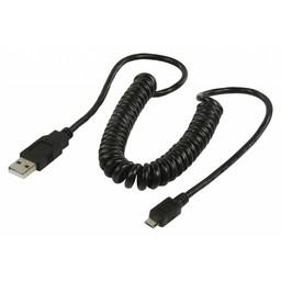 <br />  USB 2.0 USB A male - USB micro B male gedraaide kabel 2,00 m zwart