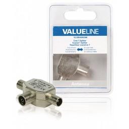 <br />  Coax T-Splitter coax vrouwelijk - 2x coax mannelijk metaal