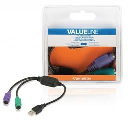 <br />  USB 2.0 adapterkabel USB A mannelijk - 2x PS/2 vrouwelijk 0,30 m zwart