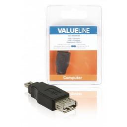 <br />  USB 2.0 USB Mini 5-pin mannelijk - USB A vrouwlijk adapter zwart