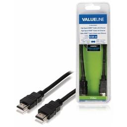 <br />  High Speed HDMI-kabel met ethernet HDMI-connector - HDMI-connector 0,50 m zwart