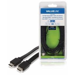 <br />  Platte High Speed HDMI-kabel met ethernet HDMI-connector - HDMI-connector 2,00 m zwart