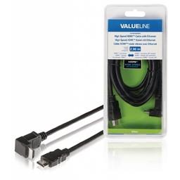 <br />  High Speed HDMI-kabel met ethernet HDMI-connector - HDMI-connector 90° gehoekt 2,00 m zwart