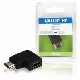<br />  HDMI adapter HDMI connector rechts gehoekt - HDMI input zwart