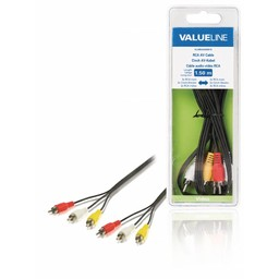 <br />  RCA AV kabel 3x RCA mannelijk - 3x RCA mannelijk 1,50 m zwart