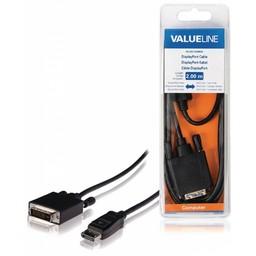 <br />  DisplayPort-kabel Displayport mannelijk - DVI-D 24 + 1-pins mannelijk 2,00 m zwart