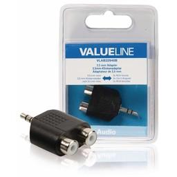 <br />  Audio-adapter 3,5 mm male - 2x RCA female zwart