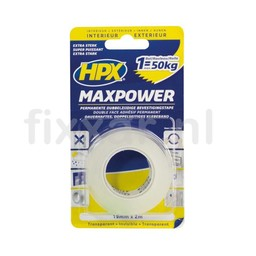 Hpx Max Power Transparent bevestigingstape - 19mm x 2m