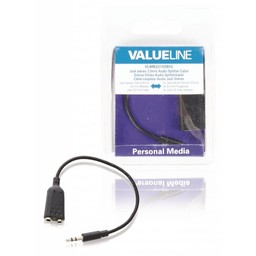 <br />  Jack stereo audiosplitterkabel 3,5 mm mannelijk - 2x 3,5 mm vrouwelijk zwart 0,20 m