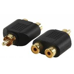 Valueline Mono Audio Adapter RCA Male - 2x RCA Female Zwart