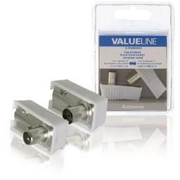 Valueline Coax connector coax male gehoekt + coax female gehoekt 2 st wit