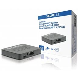 Valueline HDMI Splitter HDMI-Ingang - 2x HDMI-Uitgang Zwart