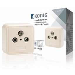 König Antenne Wandcontactdoos (Uiteinde) - Wit / Zilver 2.5 dB