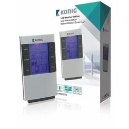 König Weerstation/LCD Klok Binnen Grijs / Zwart