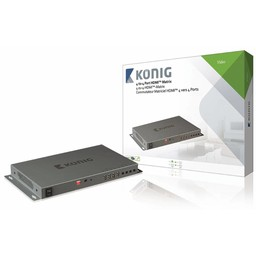 König HDMI Matrix 4x HDMI-Ingang - 4x HDMI-Uitgang Donkergrijs