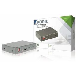 König HDMI Splitter HDMI-Ingang - 2x HDMI-Uitgang Donkergrijs