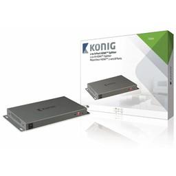 König HDMI Splitter 2x HDMI-Ingang - 8x HDMI-Uitgang Donkergrijs