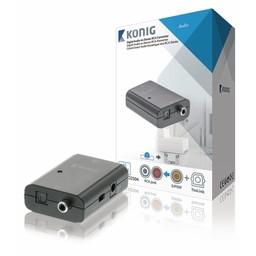 König Digitale Audio Converter 1x TosLink Female + 1x S/PDIF (RCA) Female - 2x RCA Female Donkergrijs