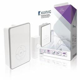 König Draadloze Deurbel Set Batterijgevoed 80 dB Wit / Grijs