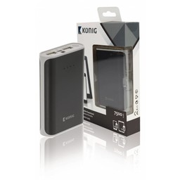 König Draagbare Powerbank 7500 mAh USB Zwart/Grijs