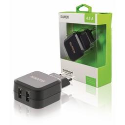 Sweex Lader 2 - Uitgangen 4.8 A 2x USB Zwart