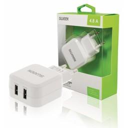 Sweex Lader 2 - Uitgangen 4.8 A 2x USB Wit