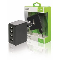 Sweex Lader 4 - Uitgangen 4.8 A USB Zwart