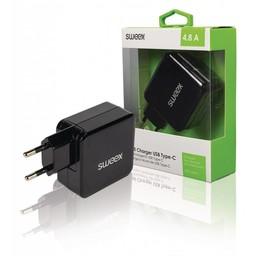 Sweex Lader 2 - Uitgangen 4.8 A USB / USB-C Zwart