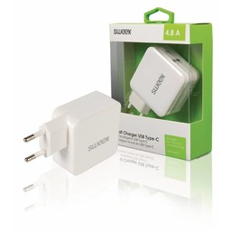Sweex Lader 2 - Uitgangen 4.8 A USB / USB-C Wit