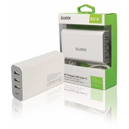 Sweex Lader 4 - Uitgangen 8 A USB / USB-C Wit