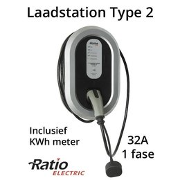 Ratio EV Laadstation type 2, 32A, rechte laadkabel + KWh meter