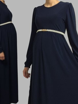 Navy High Waist Maxi Dress