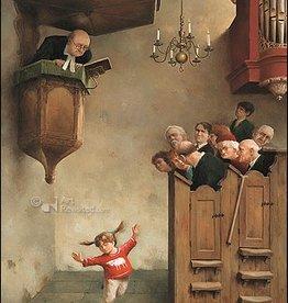 Dansje in de kerk - Wenskaart Marius van Dokkum