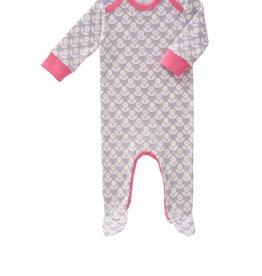 Fresk Pyjama met voet Blomster grijs 3-6mnd - Fresk