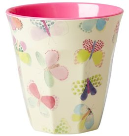 Rice Beker Melamine Two Tone Butterfly Print - Rice
