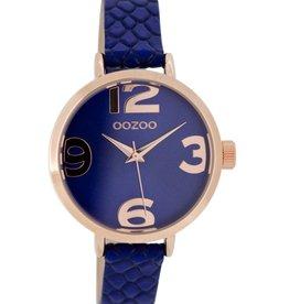 OOZOO Horloge blue croco (r) 35mm C7268 - OOZOO