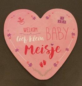 Wenskaart Welkom lief klein Baby Meisje - Hearts