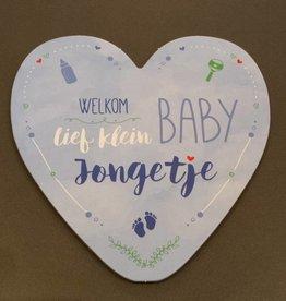 Wenskaart Welkom lief klein Baby Jongetje - Hearts
