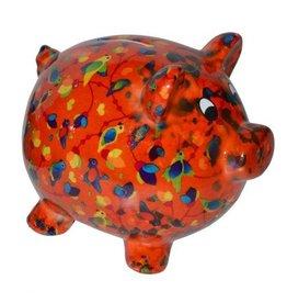 Pomme-Pidou Spaarpot Pig Peggy oranje met vogels - Pomme-Pidou